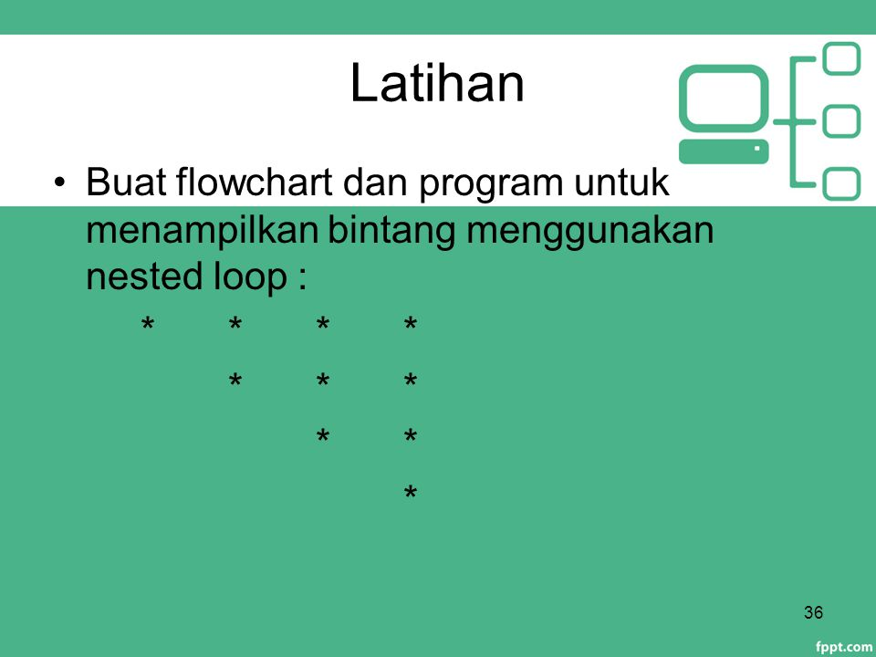 Latihan Buat flowchart dan program untuk menampilkan bintang menggunakan nested loop : * * * * * * *