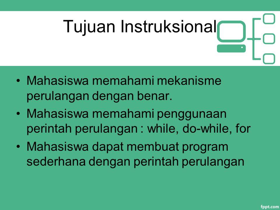 Tujuan Instruksional Mahasiswa memahami mekanisme perulangan dengan benar. Mahasiswa memahami penggunaan perintah perulangan : while, do-while, for.
