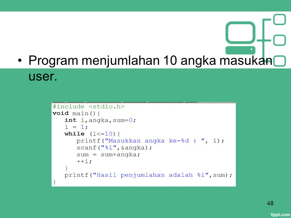 Program menjumlahan 10 angka masukan user.