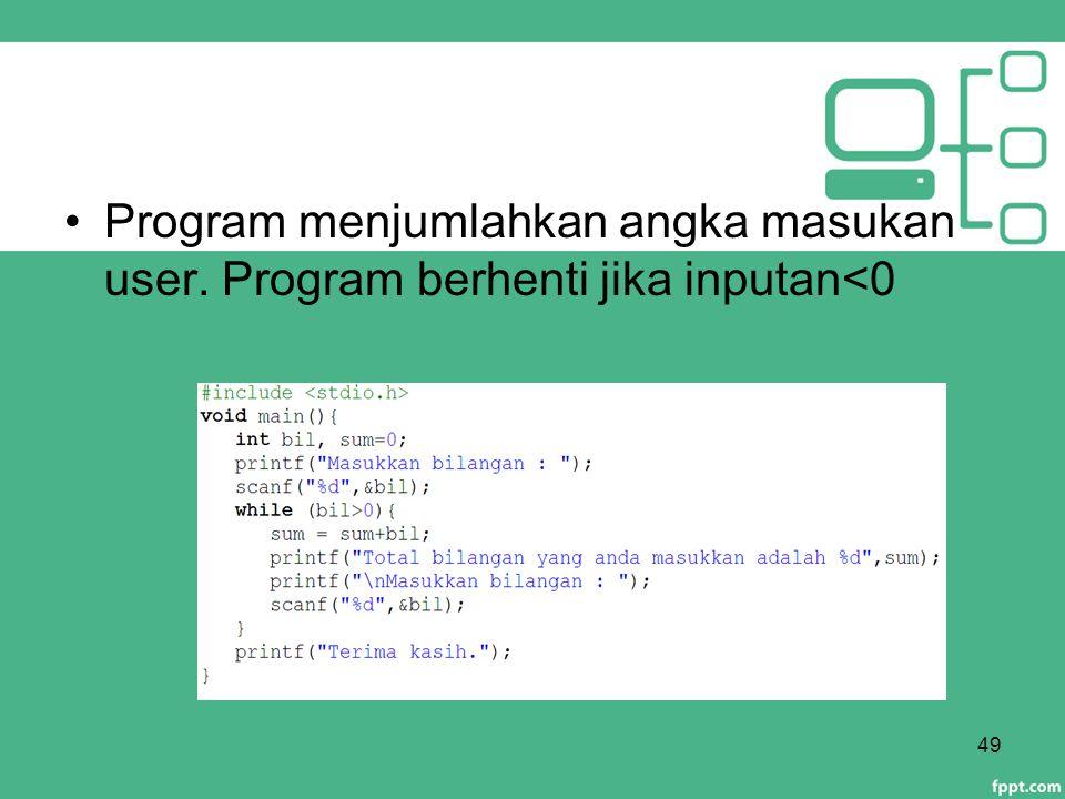 Program menjumlahkan angka masukan user