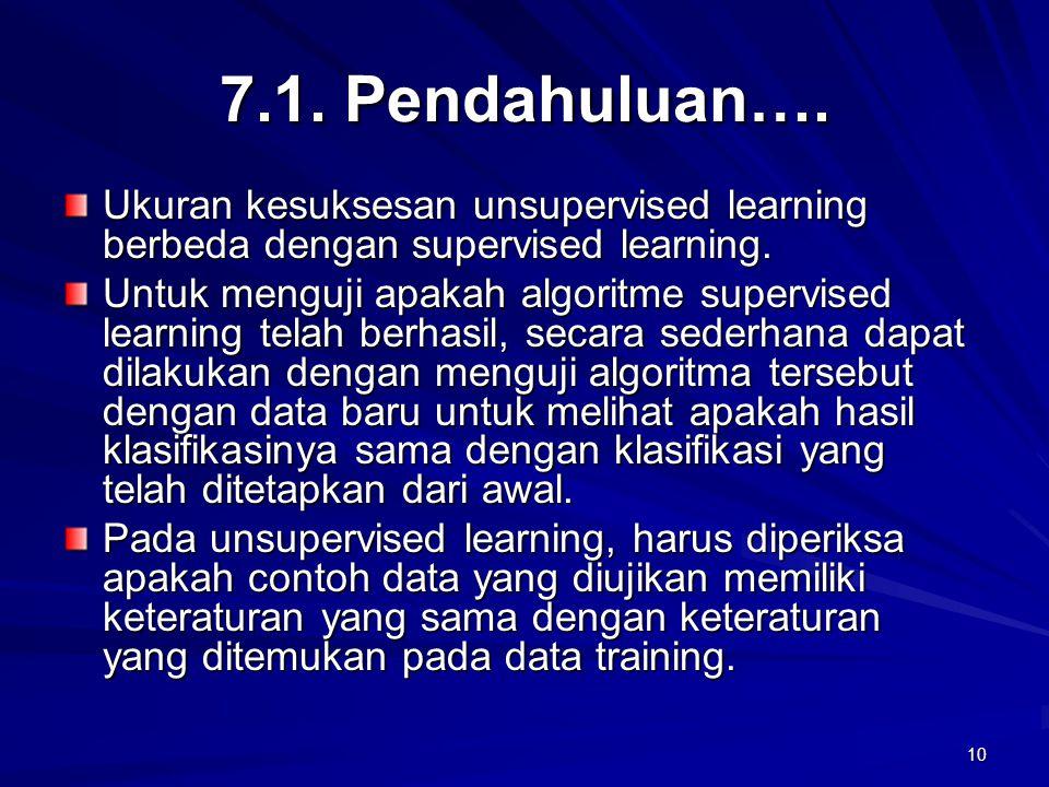 7.1. Pendahuluan…. Ukuran kesuksesan unsupervised learning berbeda dengan supervised learning.