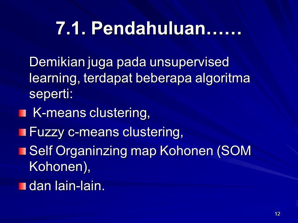 7.1. Pendahuluan…… Demikian juga pada unsupervised learning, terdapat beberapa algoritma seperti: K-means clustering,