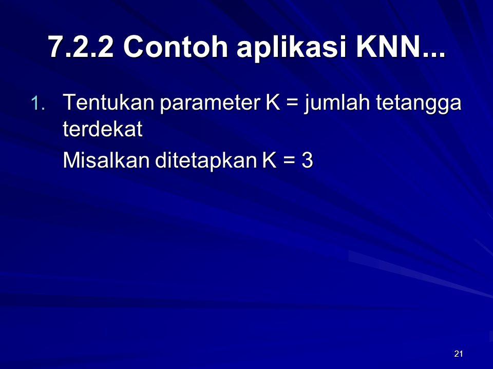 7.2.2 Contoh aplikasi KNN... Tentukan parameter K = jumlah tetangga terdekat.