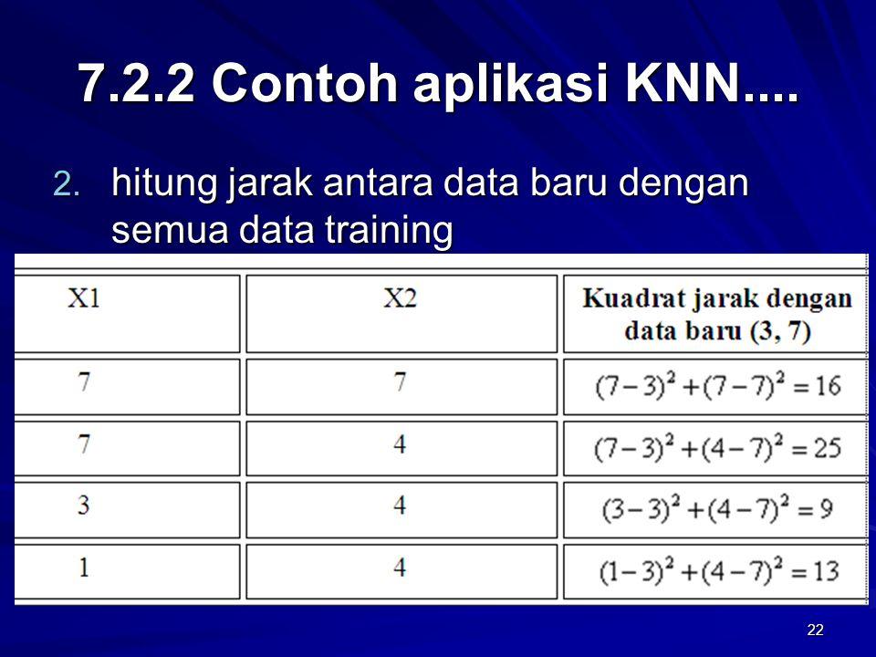 7.2.2 Contoh aplikasi KNN.... hitung jarak antara data baru dengan semua data training