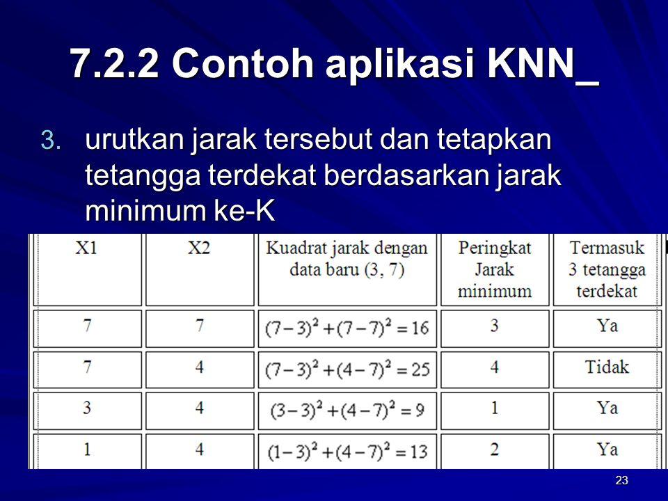 7.2.2 Contoh aplikasi KNN_ urutkan jarak tersebut dan tetapkan tetangga terdekat berdasarkan jarak minimum ke-K.