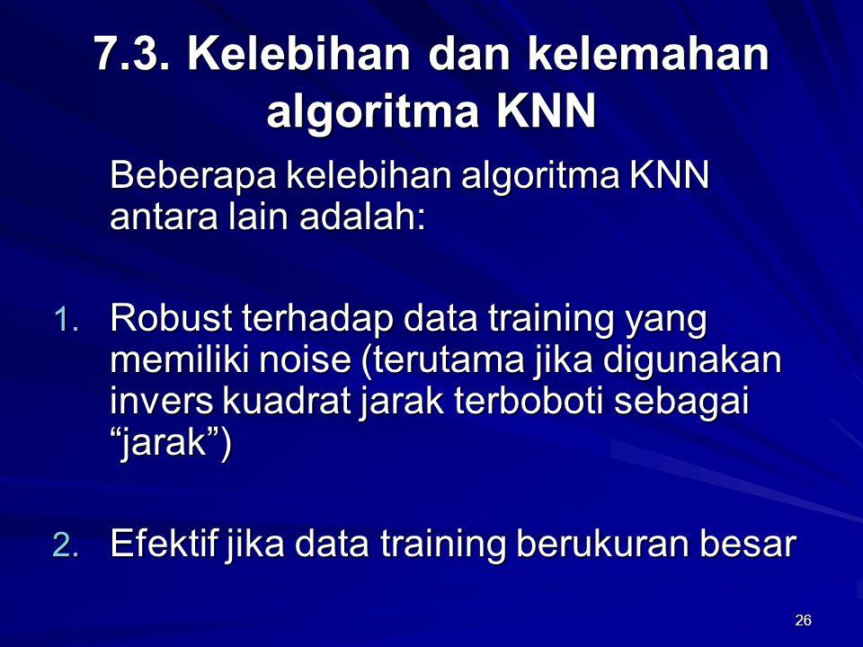 7.3. Kelebihan dan kelemahan algoritma KNN