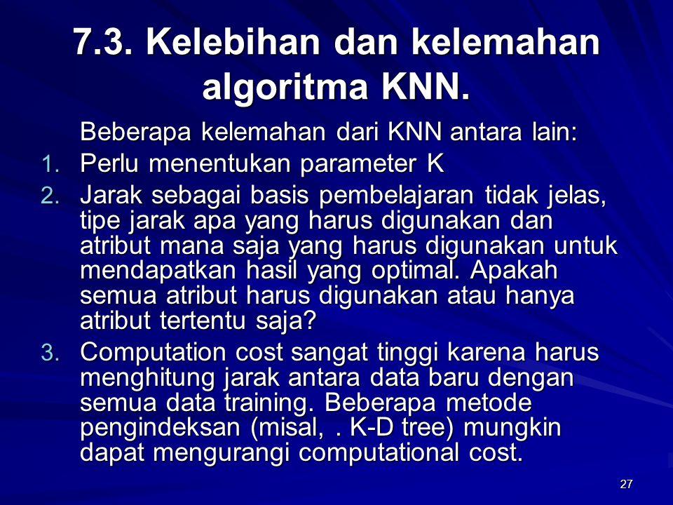 7.3. Kelebihan dan kelemahan algoritma KNN.