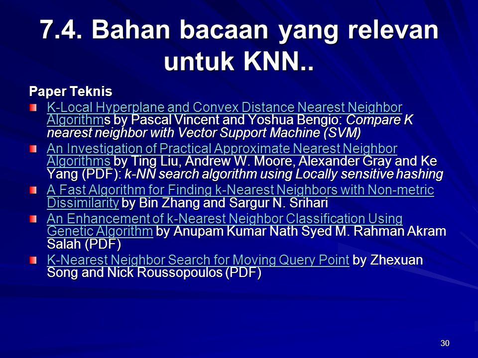 7.4. Bahan bacaan yang relevan untuk KNN..