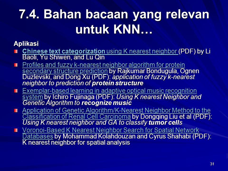 7.4. Bahan bacaan yang relevan untuk KNN…
