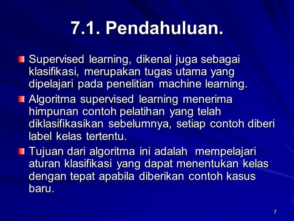 7.1. Pendahuluan. Supervised learning, dikenal juga sebagai klasifikasi, merupakan tugas utama yang dipelajari pada penelitian machine learning.