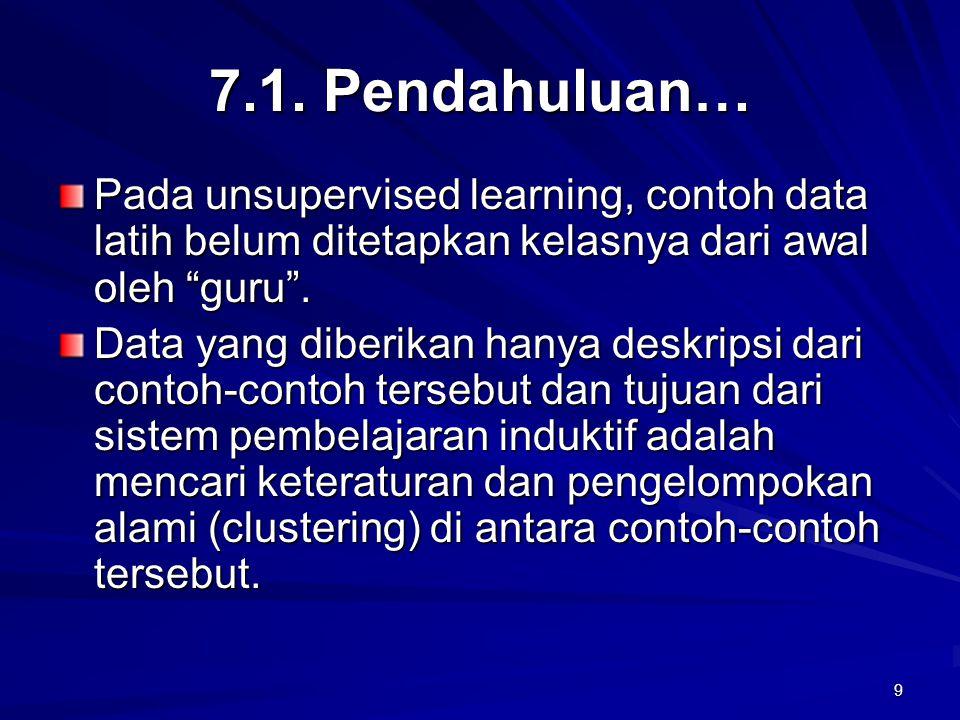 7.1. Pendahuluan… Pada unsupervised learning, contoh data latih belum ditetapkan kelasnya dari awal oleh guru .
