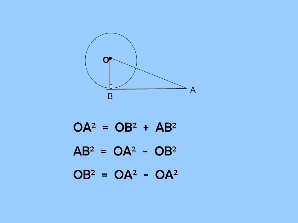 B A O • OA2 = OB2 + AB2 AB2 = OA2 - OB2 OB2 = OA2 - OA2