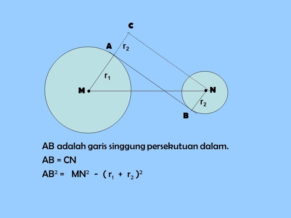 AB adalah garis singgung persekutuan dalam. AB = CN