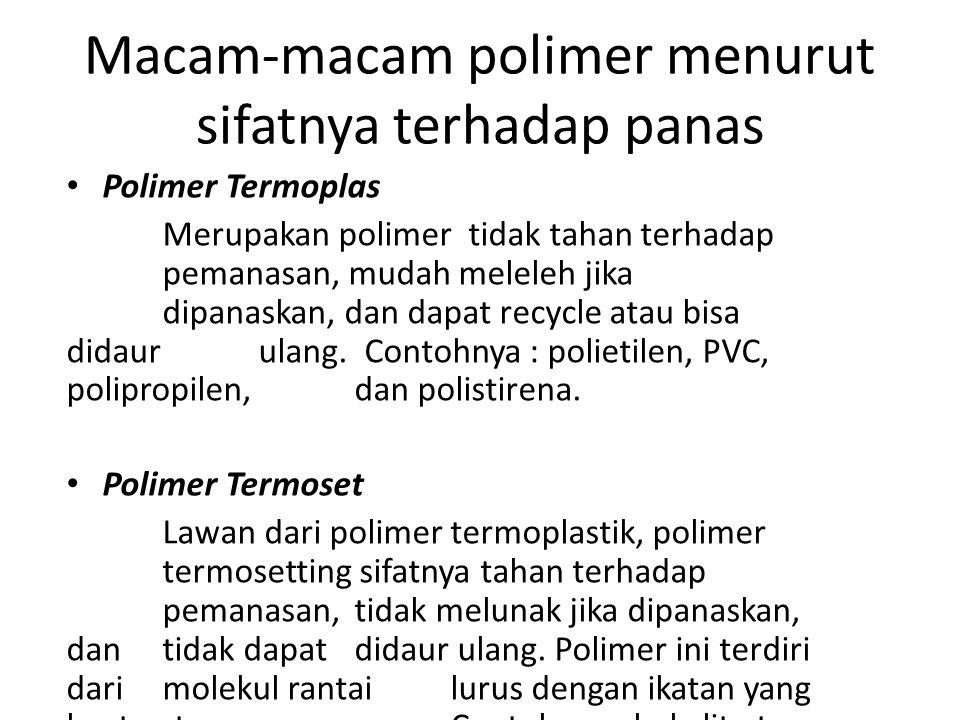 Macam-macam polimer menurut sifatnya terhadap panas