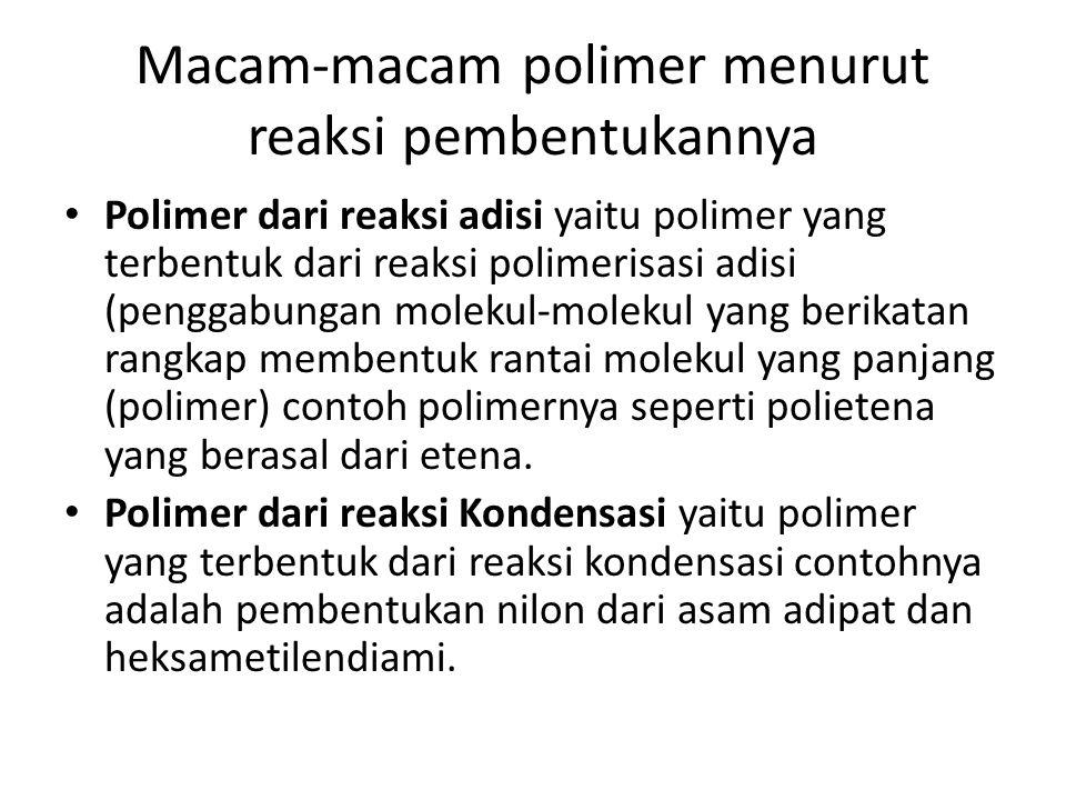 Macam-macam polimer menurut reaksi pembentukannya