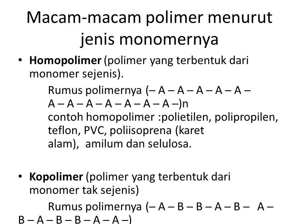 Macam-macam polimer menurut jenis monomernya
