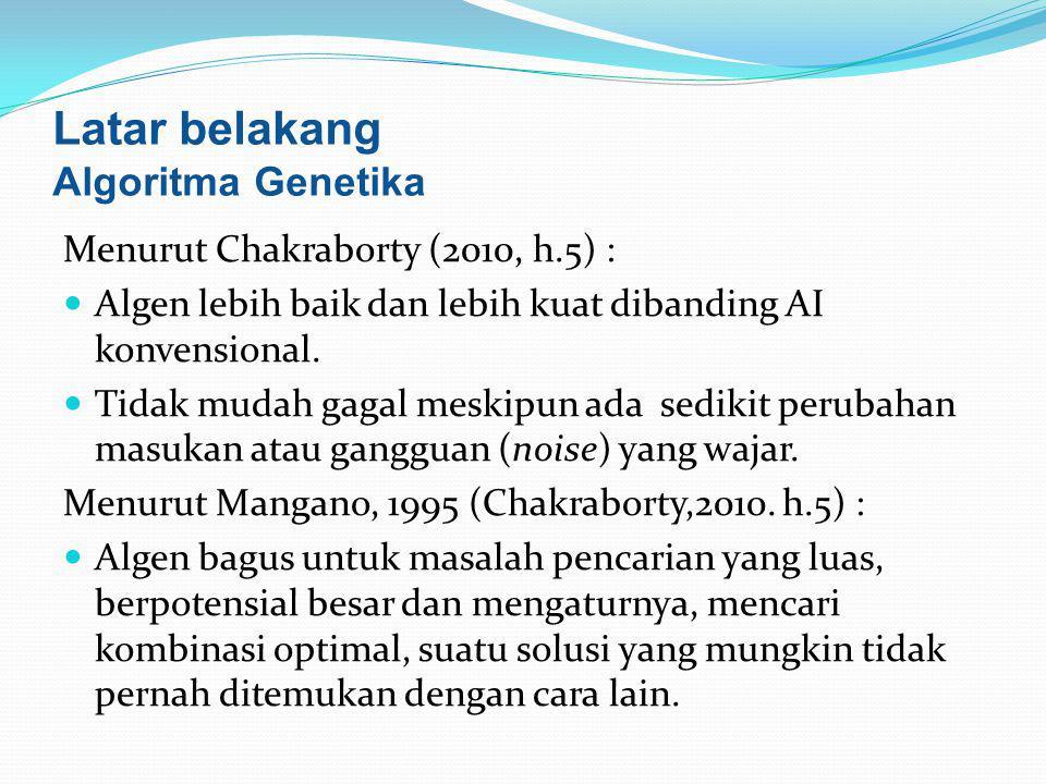 Latar belakang Algoritma Genetika Menurut Chakraborty (2010, h.5) :