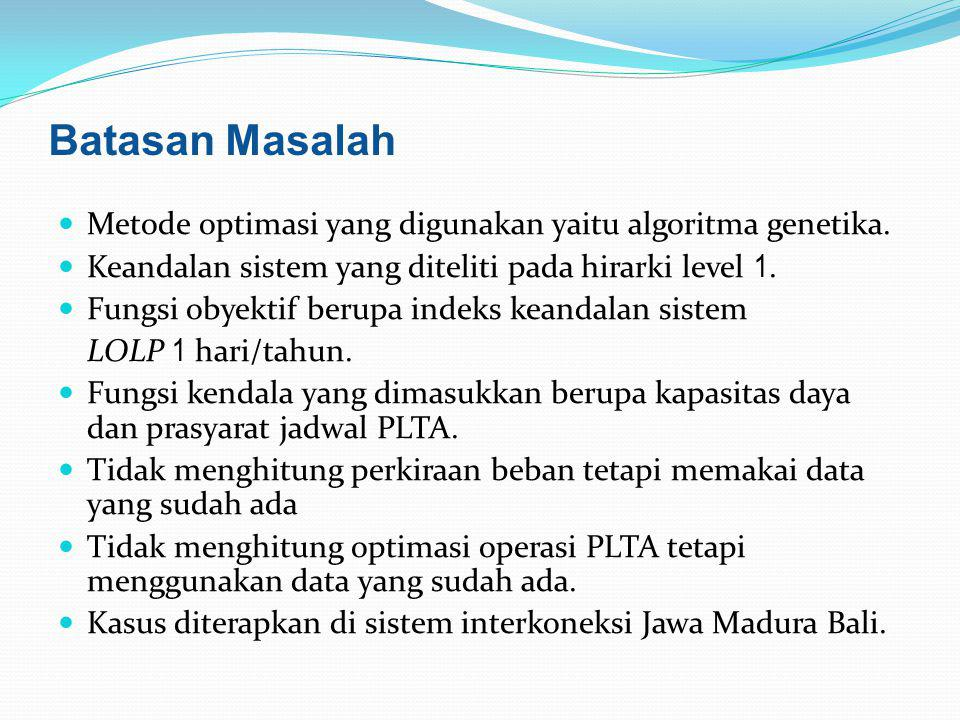 Batasan Masalah Metode optimasi yang digunakan yaitu algoritma genetika. Keandalan sistem yang diteliti pada hirarki level 1.