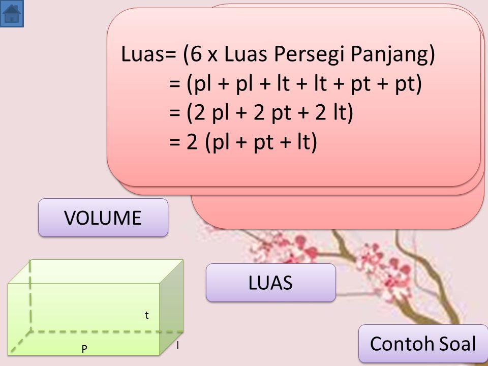 Luas= (6 x Luas Persegi Panjang) = (pl + pl + lt + lt + pt + pt)