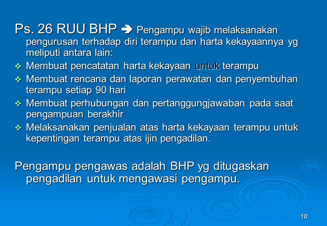 Ps. 26 RUU BHP  Pengampu wajib melaksanakan pengurusan terhadap diri terampu dan harta kekayaannya yg meliputi antara lain: