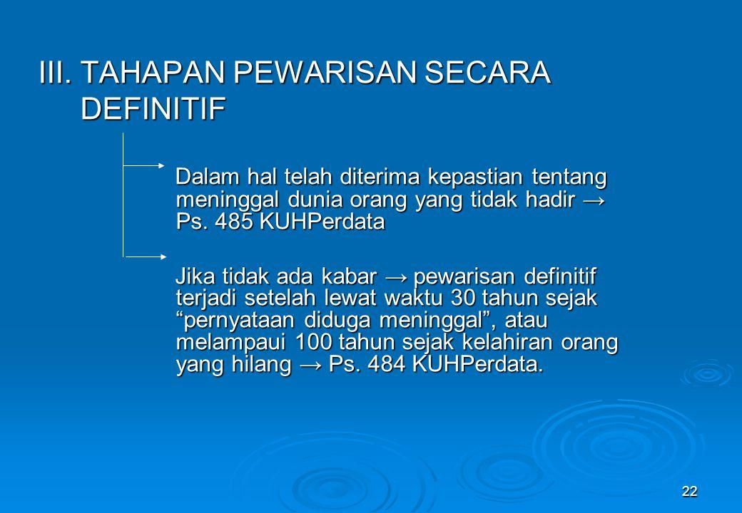 III. TAHAPAN PEWARISAN SECARA DEFINITIF