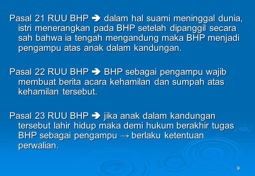 Pasal 21 RUU BHP  dalam hal suami meninggal dunia, istri menerangkan pada BHP setelah dipanggil secara sah bahwa ia tengah mengandung maka BHP menjadi pengampu atas anak dalam kandungan.