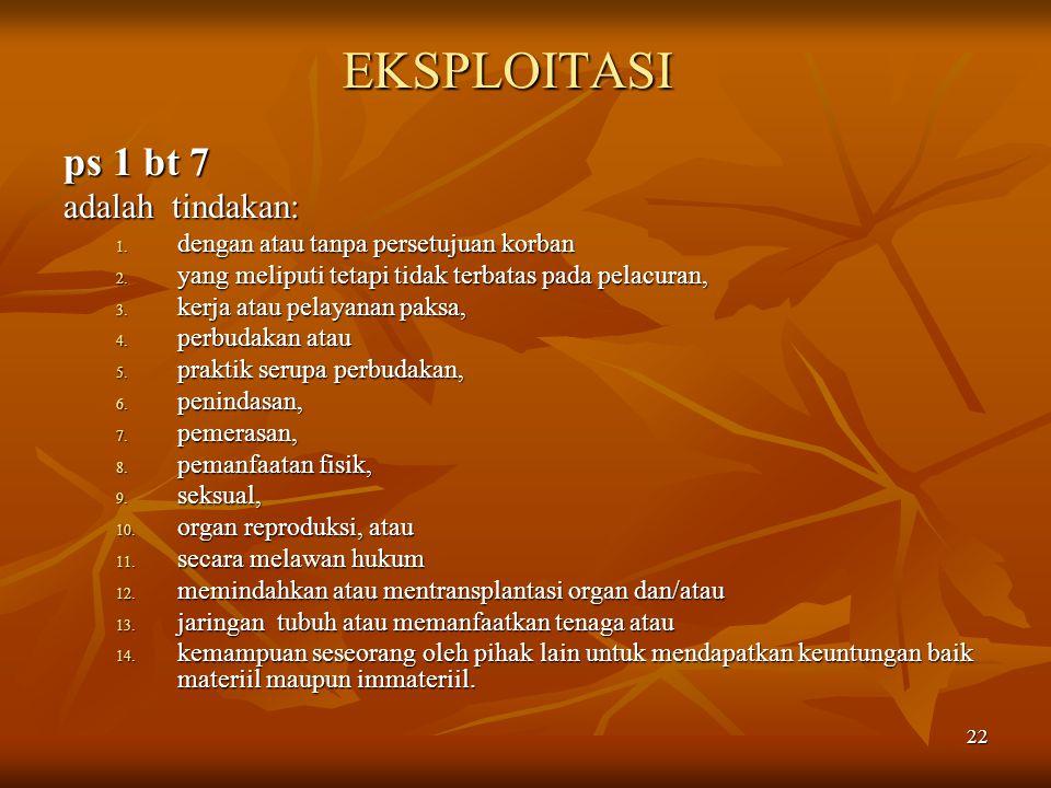EKSPLOITASI ps 1 bt 7 adalah tindakan: