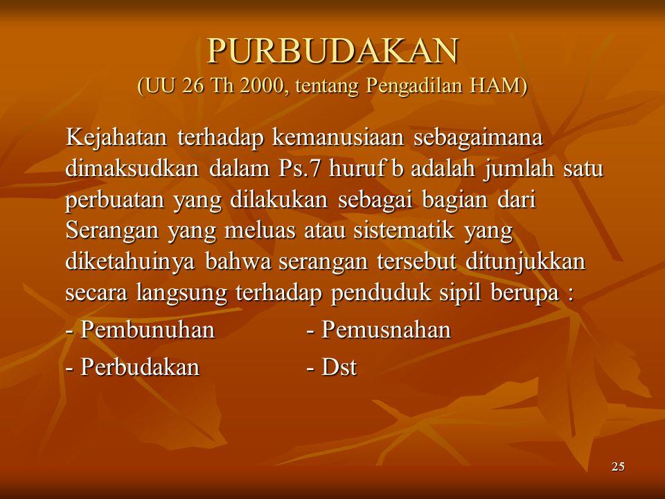 PURBUDAKAN (UU 26 Th 2000, tentang Pengadilan HAM)