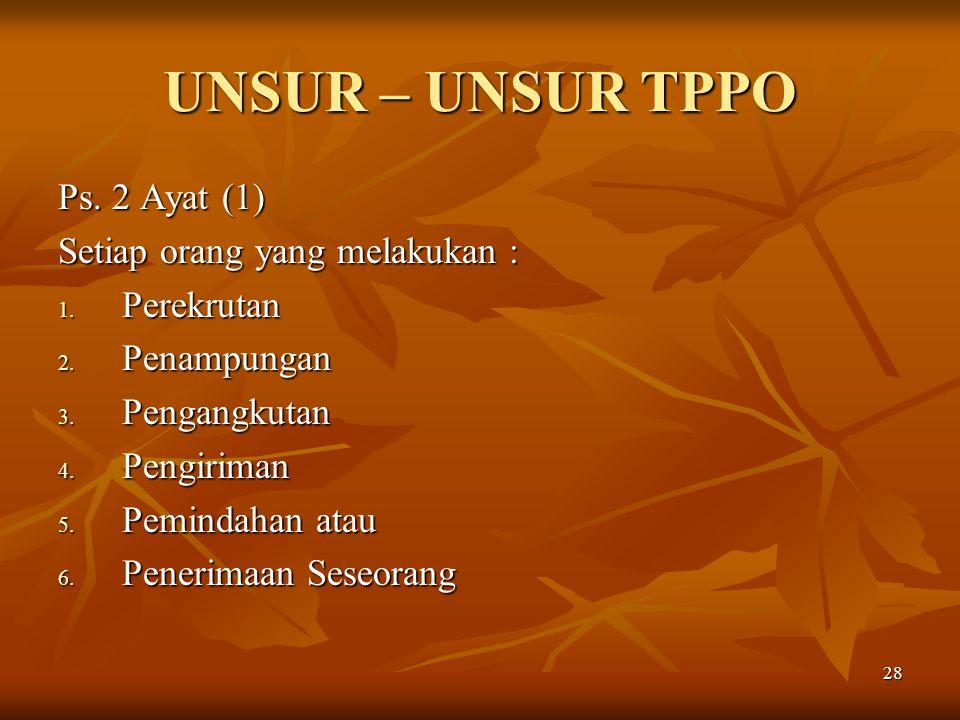 UNSUR – UNSUR TPPO Ps. 2 Ayat (1) Setiap orang yang melakukan :