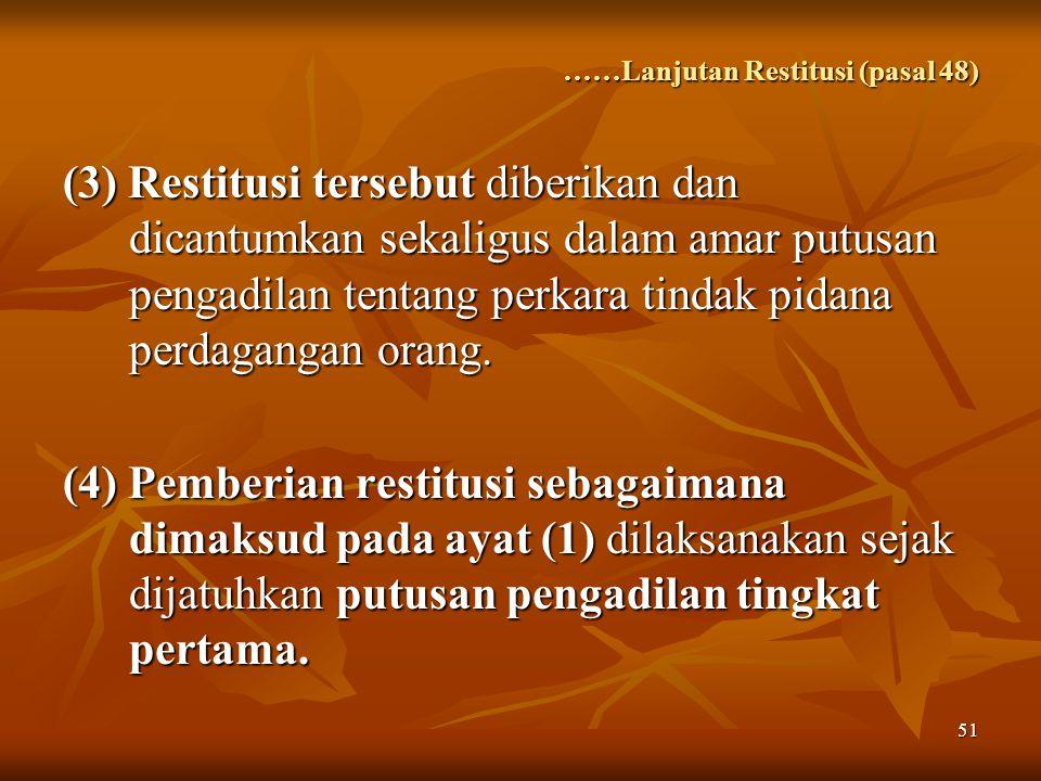 ……Lanjutan Restitusi (pasal 48)