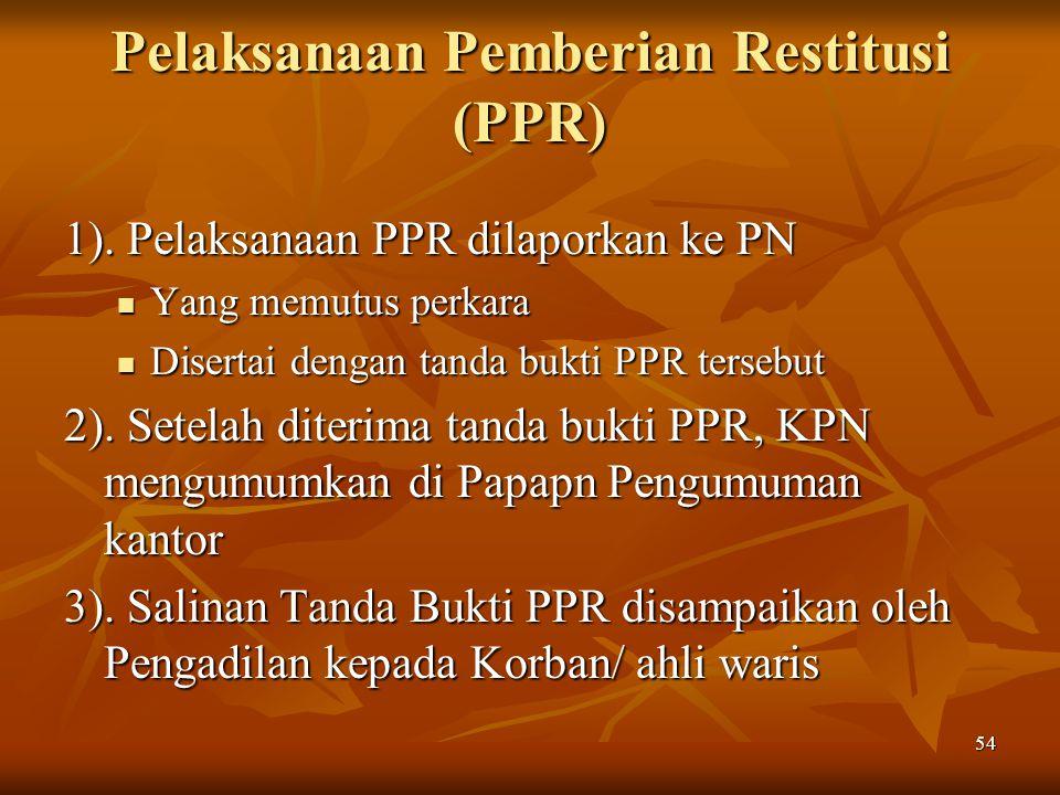 Pelaksanaan Pemberian Restitusi (PPR)