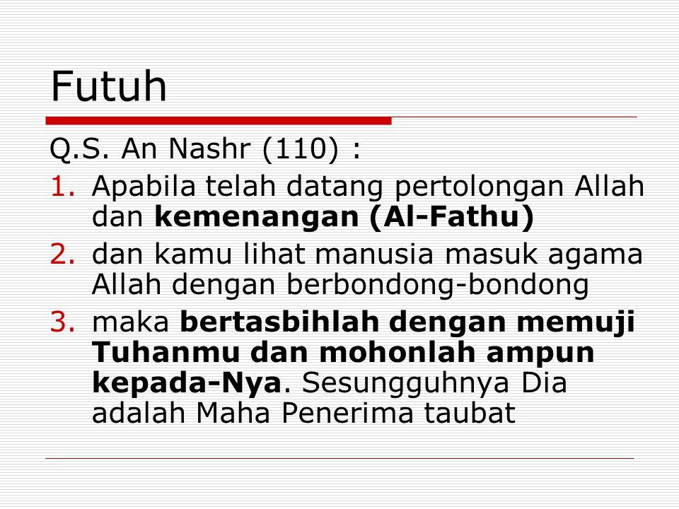 Futuh Q.S. An Nashr (110) : Apabila telah datang pertolongan Allah dan kemenangan (Al-Fathu)