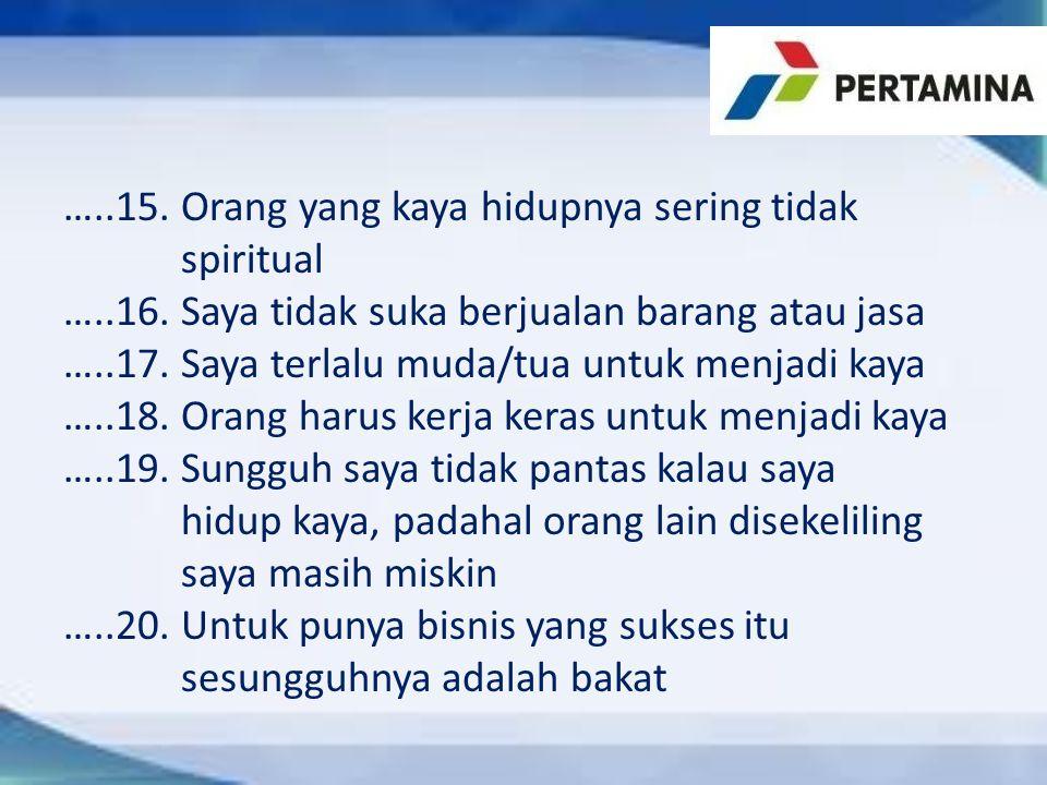 …. 15. Orang yang kaya hidupnya sering tidak spiritual …. 16