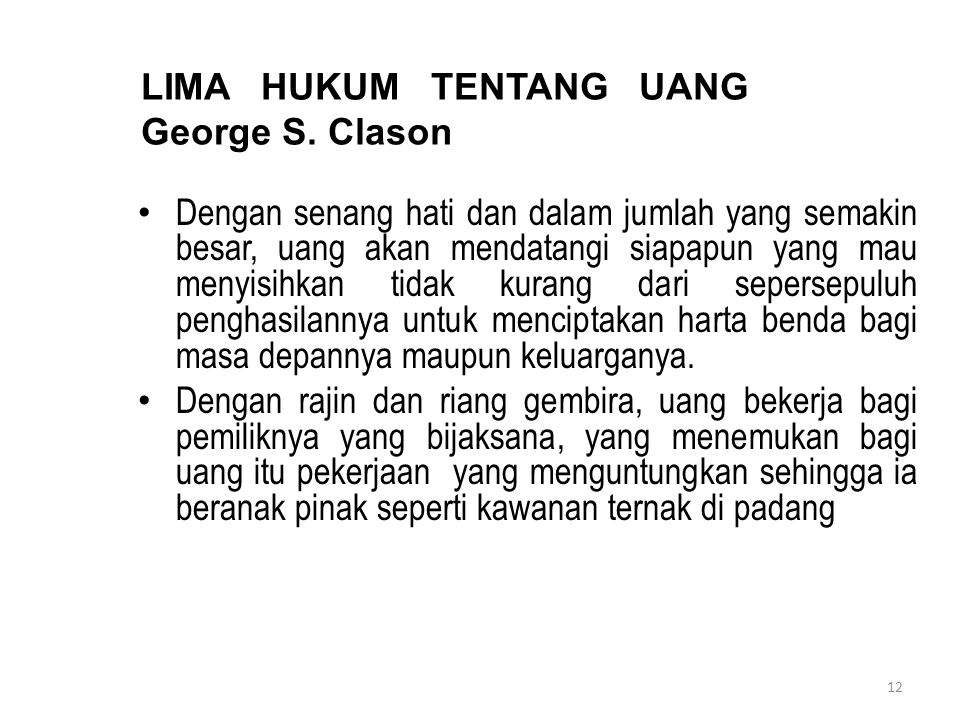 LIMA HUKUM TENTANG UANG George S. Clason