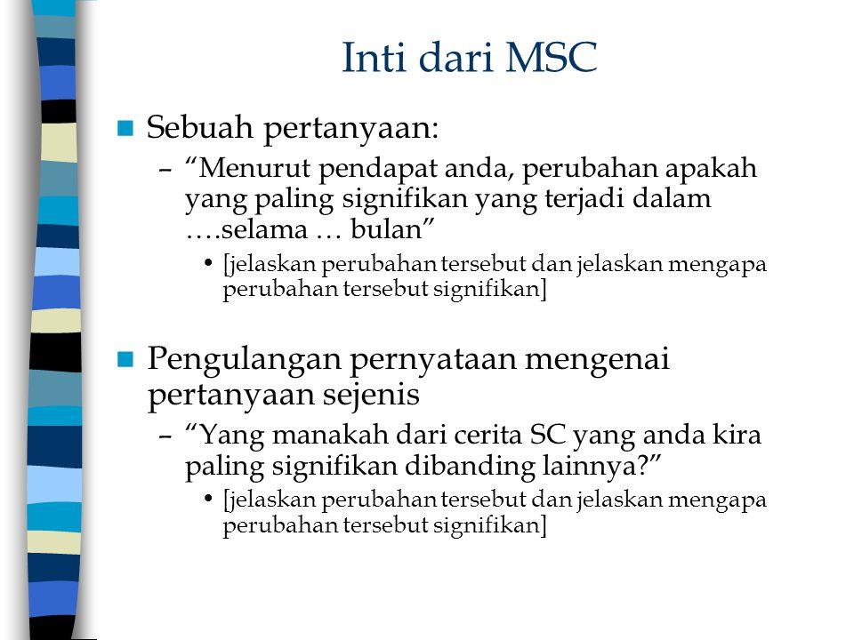 Inti dari MSC Sebuah pertanyaan: