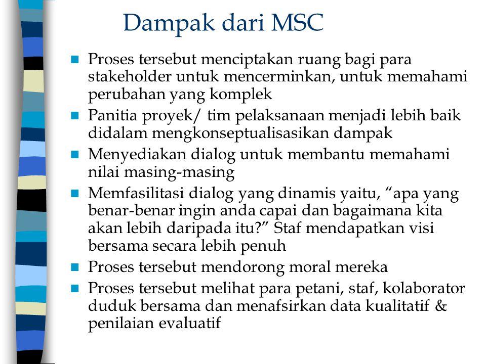 Dampak dari MSC Proses tersebut menciptakan ruang bagi para stakeholder untuk mencerminkan, untuk memahami perubahan yang komplek.