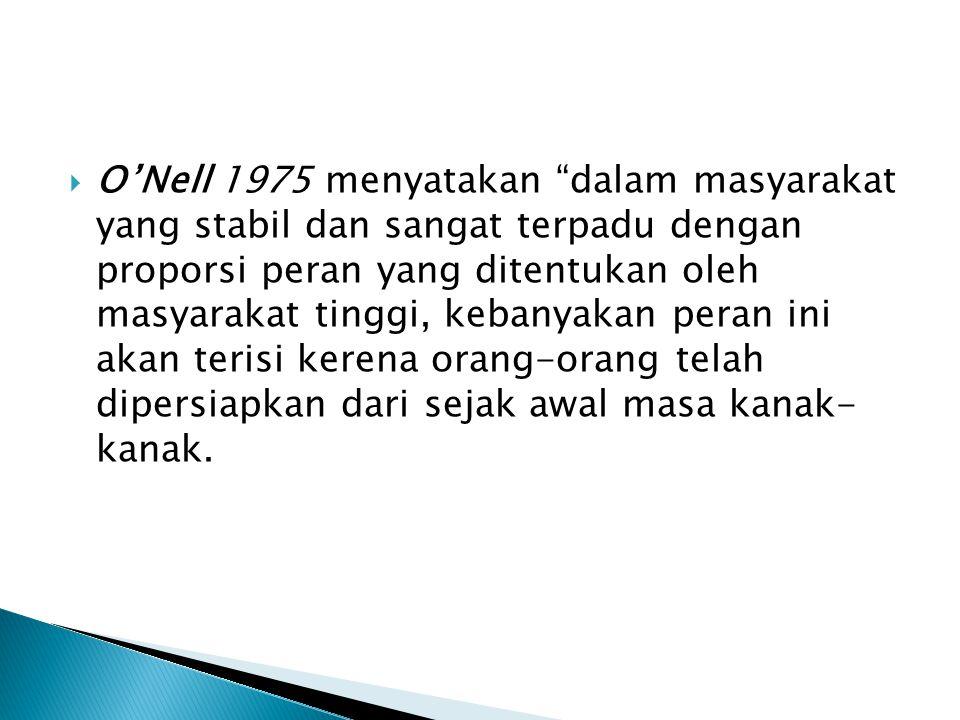 O'Nell 1975 menyatakan dalam masyarakat yang stabil dan sangat terpadu dengan proporsi peran yang ditentukan oleh masyarakat tinggi, kebanyakan peran ini akan terisi kerena orang-orang telah dipersiapkan dari sejak awal masa kanak- kanak.