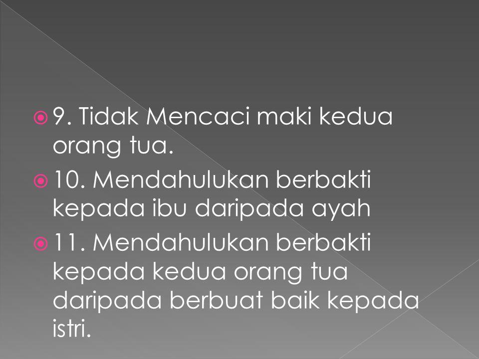 9. Tidak Mencaci maki kedua orang tua.