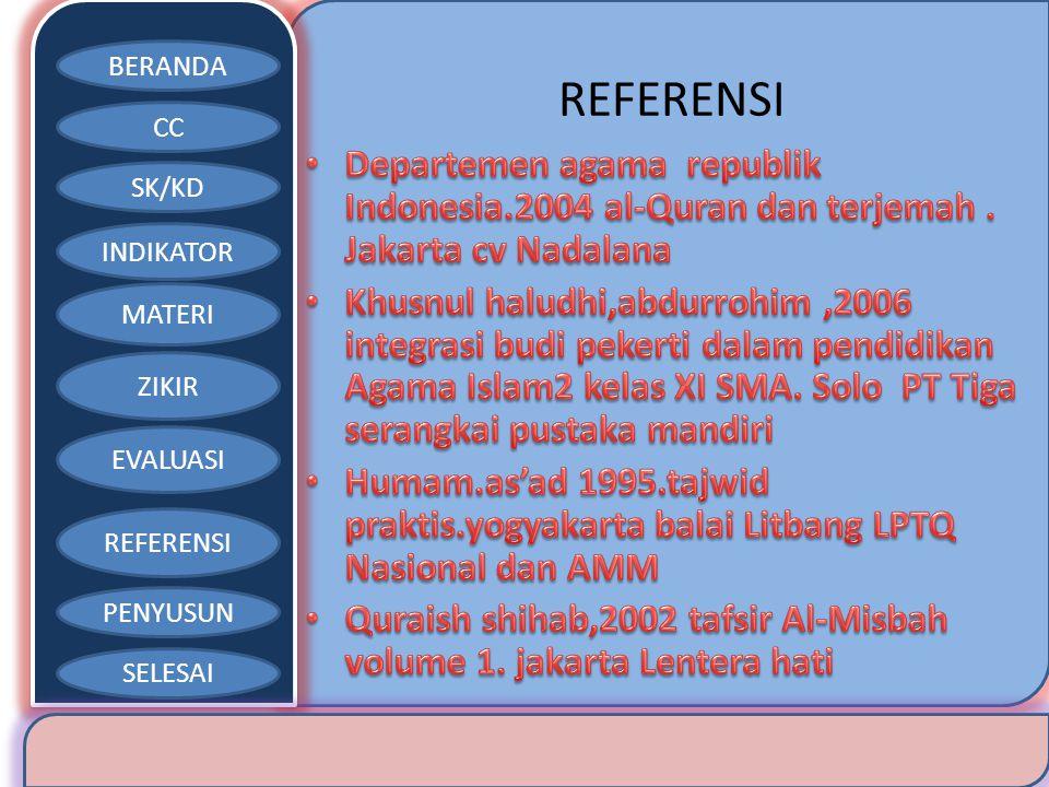 REFERENSI Departemen agama republik Indonesia.2004 al-Quran dan terjemah . Jakarta cv Nadalana.