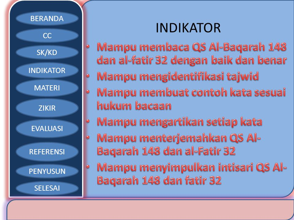 INDIKATOR Mampu membaca QS Al-Baqarah 148 dan al-fatir 32 dengan baik dan benar. Mampu mengidentifikasi tajwid.