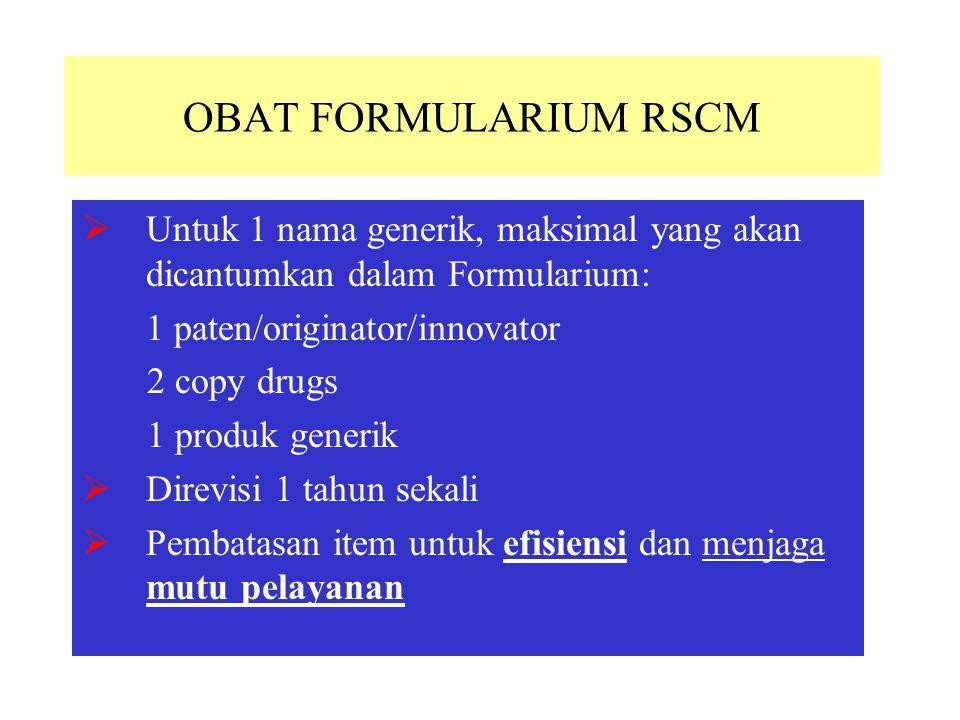 OBAT FORMULARIUM RSCM Untuk 1 nama generik, maksimal yang akan dicantumkan dalam Formularium: 1 paten/originator/innovator.