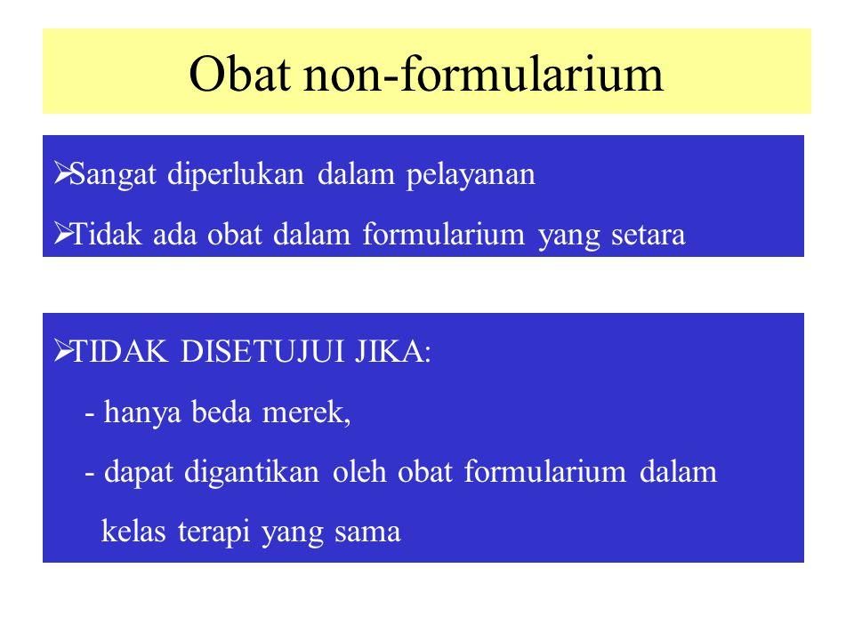 Obat non-formularium Sangat diperlukan dalam pelayanan