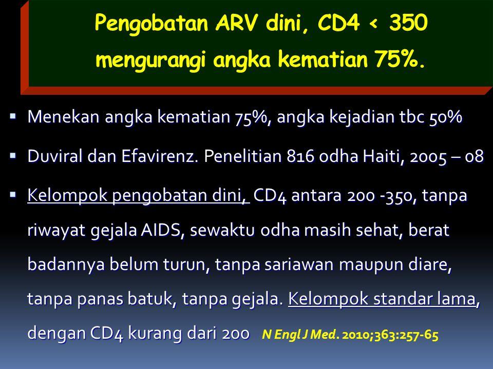 Pengobatan ARV dini, CD4 < 350 mengurangi angka kematian 75%.