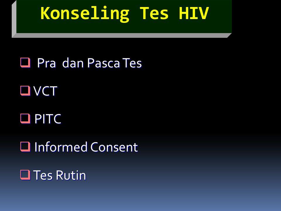 Pra dan Pasca Tes VCT PITC Informed Consent Tes Rutin