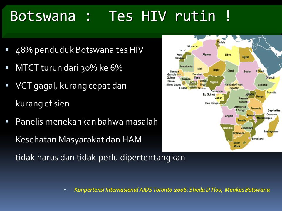 Botswana : Tes HIV rutin !