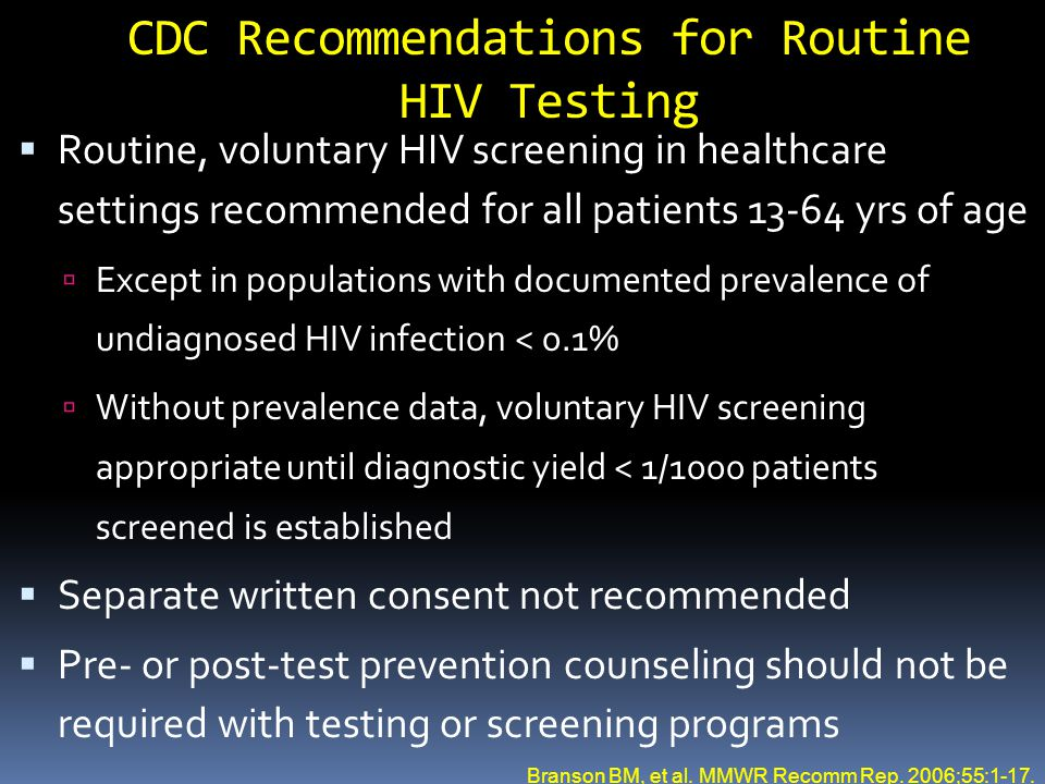 CDC Recommendations for Routine HIV Testing