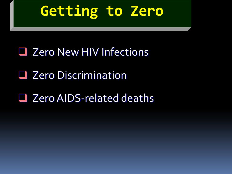 Zero New HIV Infections Zero Discrimination Zero AIDS-related deaths
