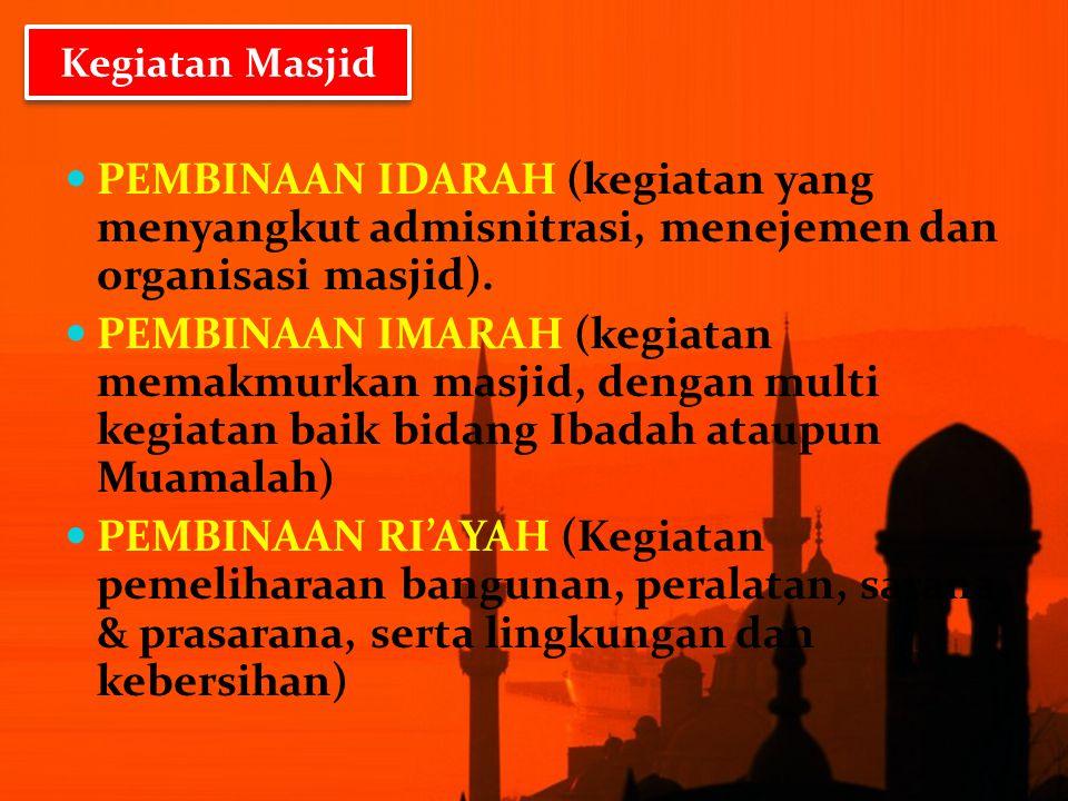 Kegiatan Masjid PEMBINAAN IDARAH (kegiatan yang menyangkut admisnitrasi, menejemen dan organisasi masjid).