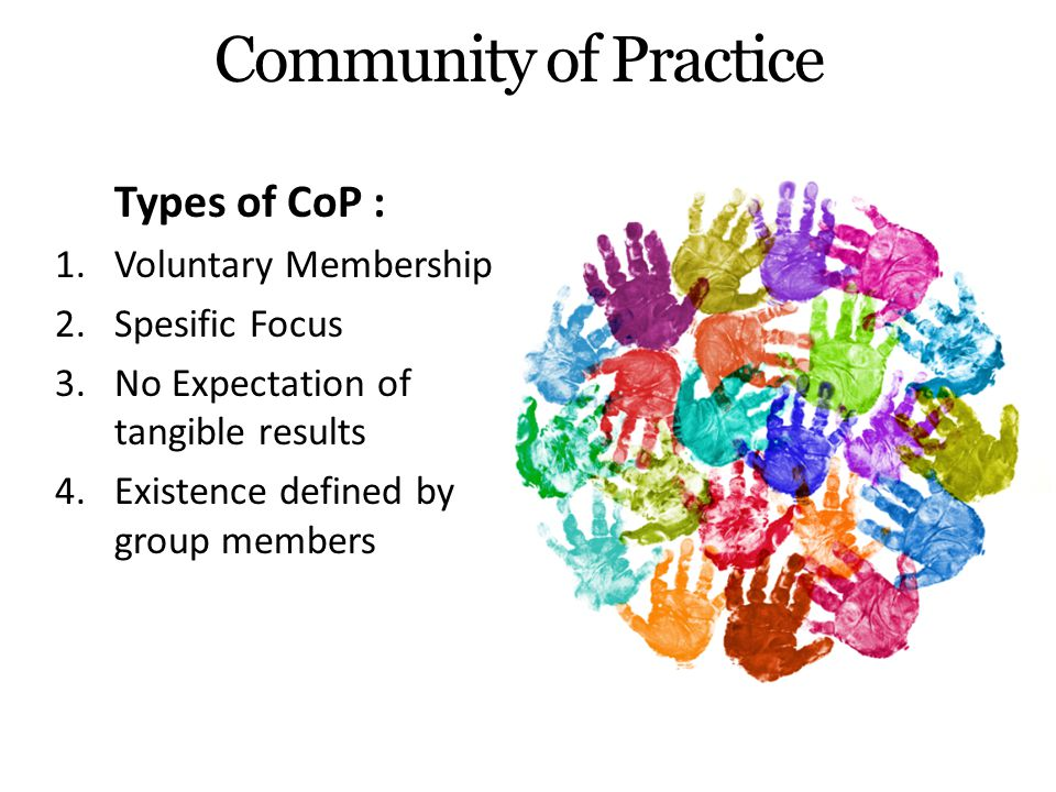 Community of Practice Types of CoP : Voluntary Membership
