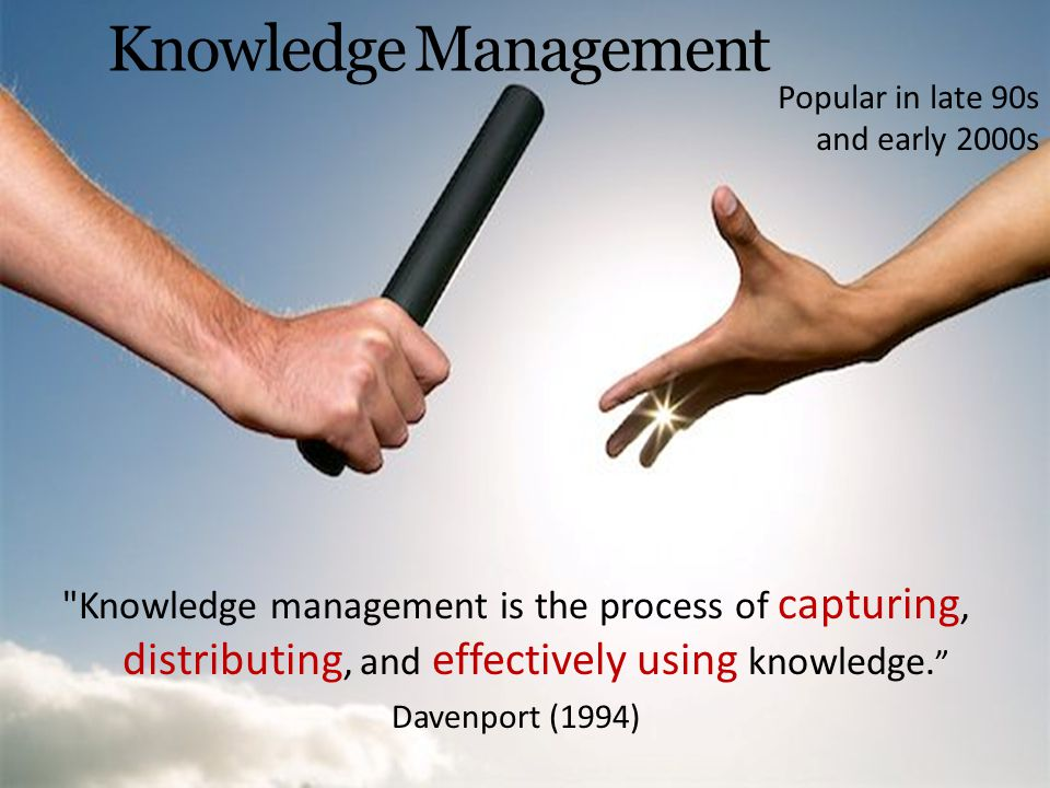 Knowledge Management Popular in late 90s and early 2000s. Nonaka model.
